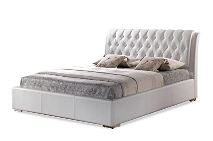 a316a0304735 Amazon.com  Baxton Studio BBT6203-White-Bed Queen White  Kitchen ...