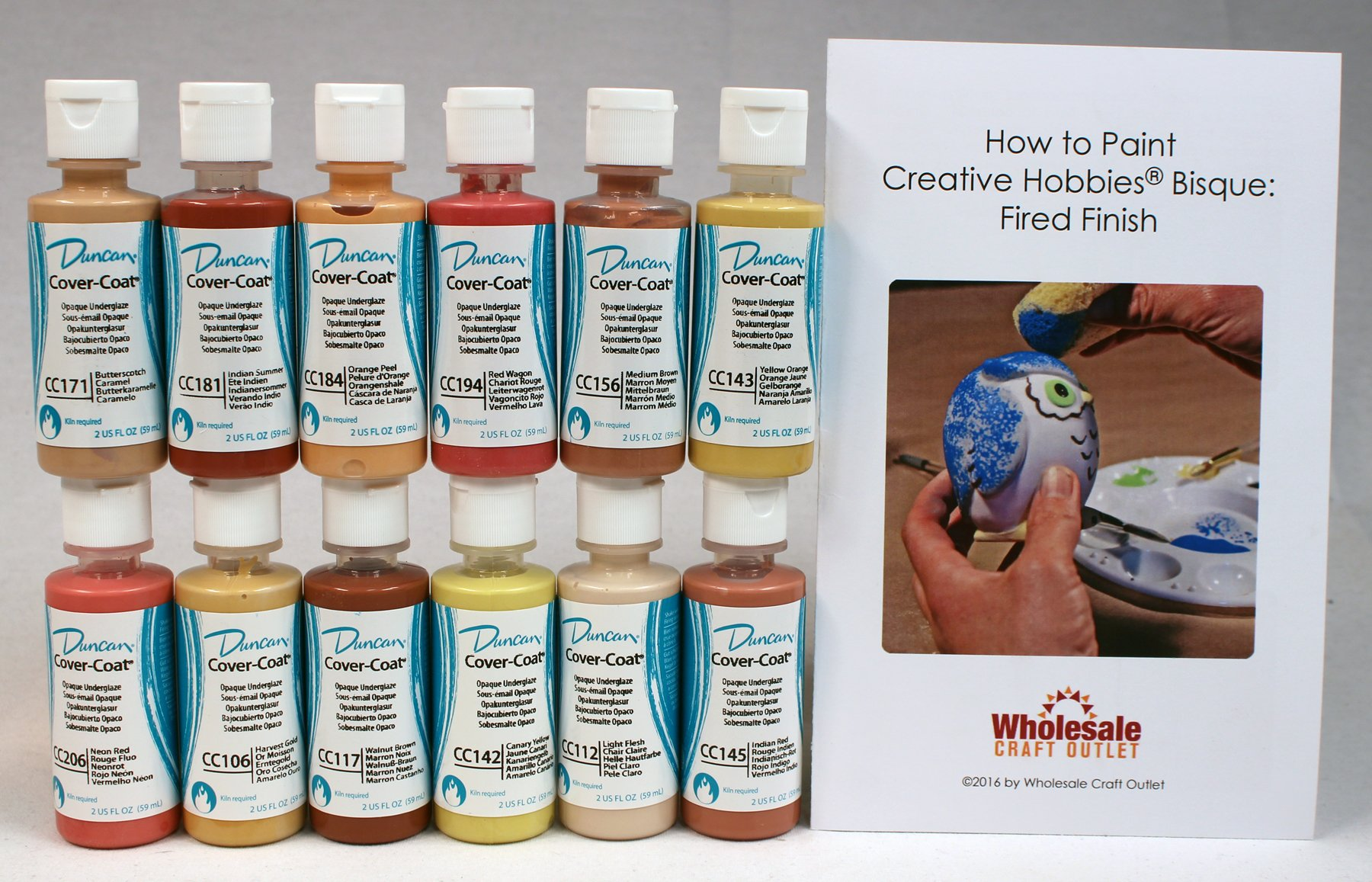 Duncan CCKIT-5 Cover-Coat Opaque Underglaze Warm Colors Paint Set, 12 Best Selling Colors in 2 Ounce Bottles with Free How To Paint Ceramics Book