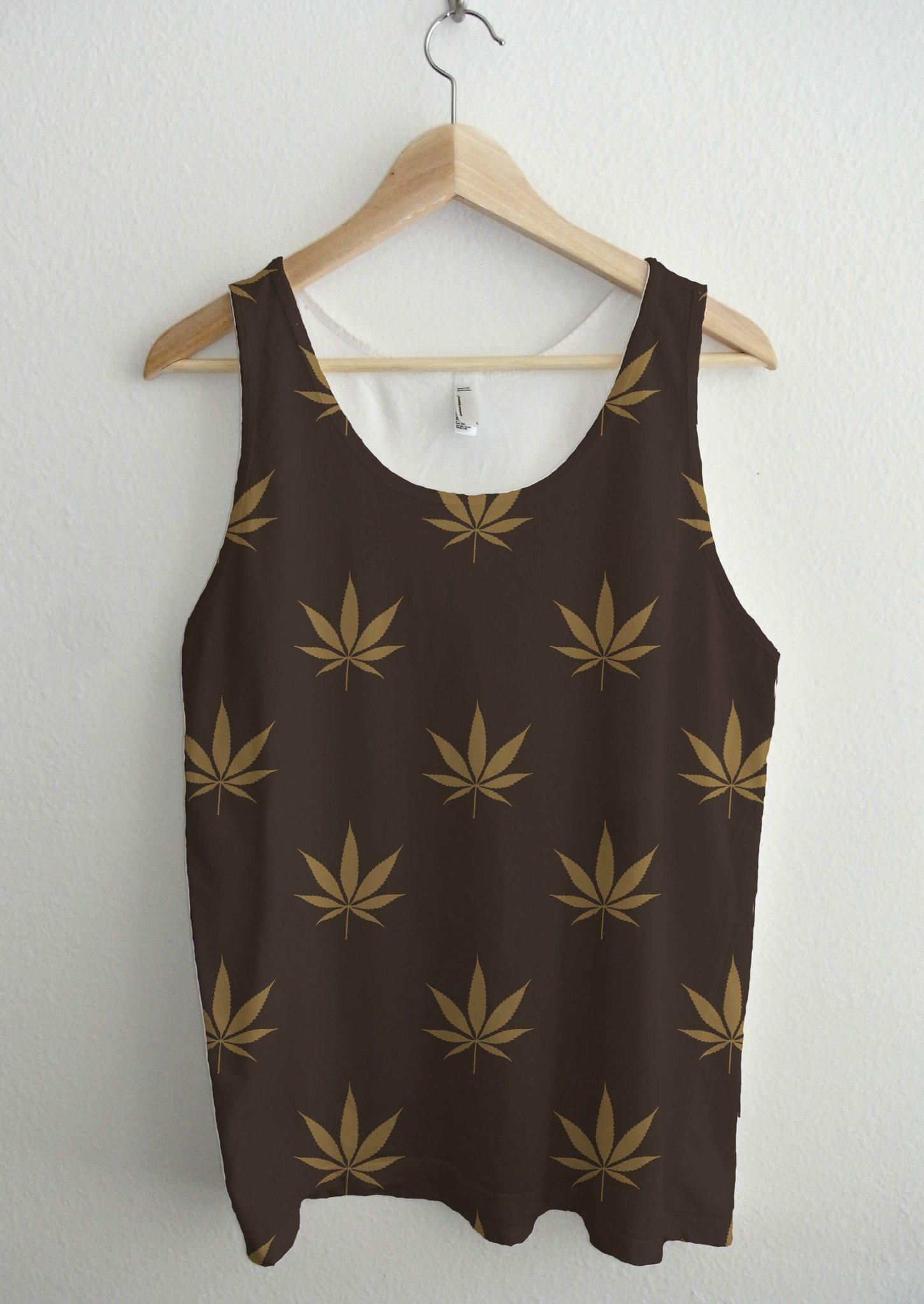 Ava Wilde LV Brown Gold Cannabis Pattern Full Print Unisex Tank Top