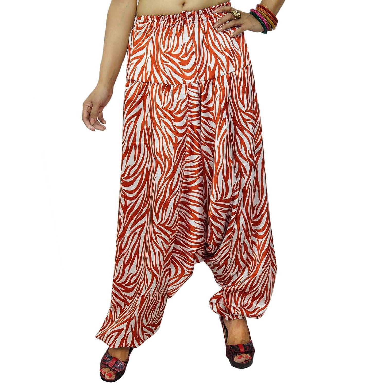 White Satin Silk Harem Frauen beiläufige Hosen Kleid Hosen Baggy Zebra-Muster Dhoti Indien Geschenk