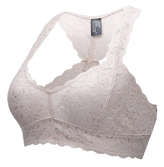 0a0e87e40b ANGOOL Women s Non Wired Soft Padded Racerback Lace Bralette Bra   Amazon.co.uk  Clothing