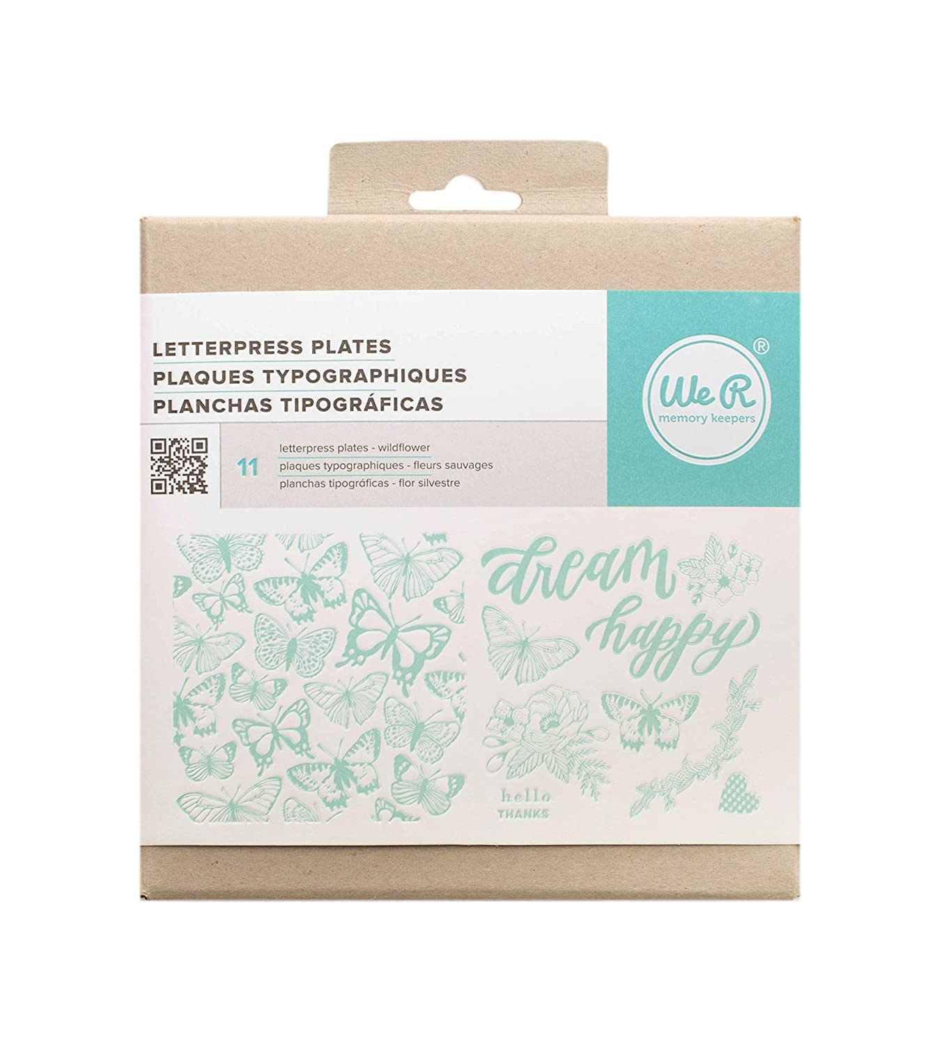 American Crafts 662693 11 Piece We R Memory Keepers Letterpress Printing Plates Wildflower