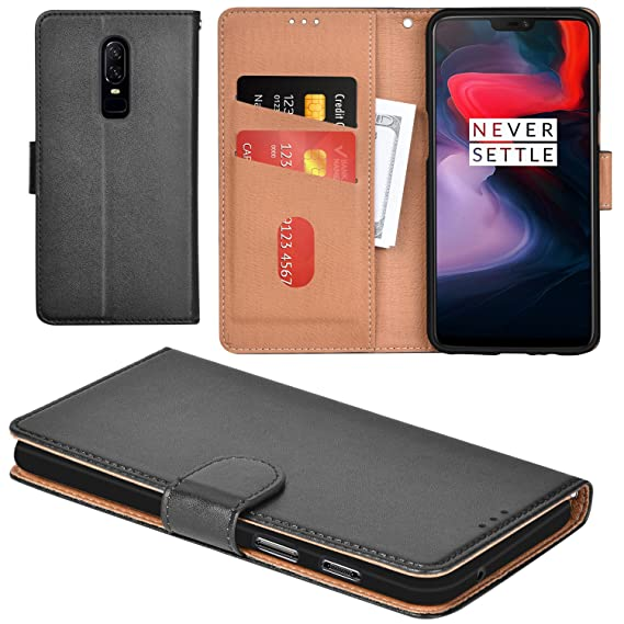 best sneakers 6dfc8 5e10e Aicoco OnePlus 6 Case Flip Cover Leather Wallet Phone Case for OnePlus 6 -  Black