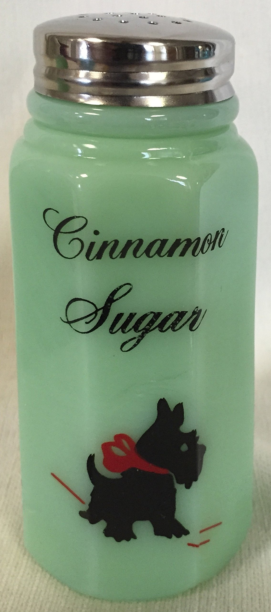 Cinnamon Sugar Shaker - Paneled - Mosser - American Made - Jade Jadeite Glass w/ Red Bow Scottie Scotty Dog