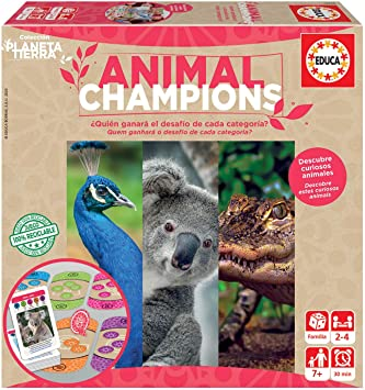 Educa - Planeta Tierra - Animal Champions, Juego de mesa familiar realizado con materiales 100% reciclados con 480 preguntas sobre animales, a partir de 7 años (18708): Amazon.es: Juguetes y juegos