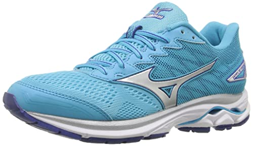 buy online 24766 4f2ac Mizuno Women s Wave Rider 20 Running Shoe, Blue Atoll Silver, 6.5 2A US