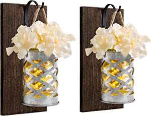 Mkono Mason Jar Sconces Wall Decor with Led Strip Lights Rustic Farmhouse Wall Sconce Vases Galvanized Metal Flower Mason Jar Ligts Wall Decor for Home Kitchen Living Room, Set of 2