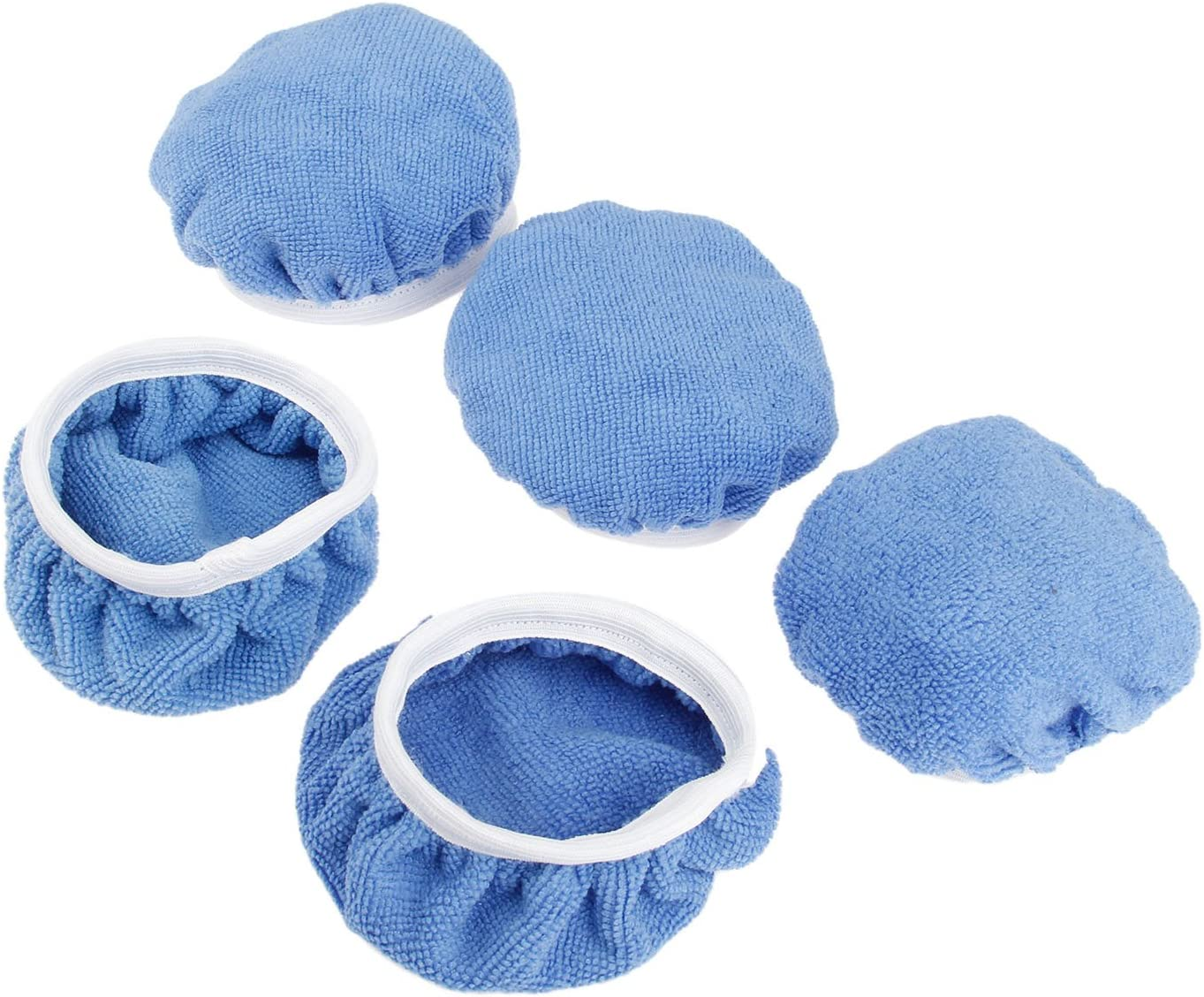5 Packs Polishing Bonnets 5 to 6 Inches Polisher Pad Bonnet Buffing Pad Cover Soft Microfiber Car Polishing Bonnet Pads for Car Polisher
