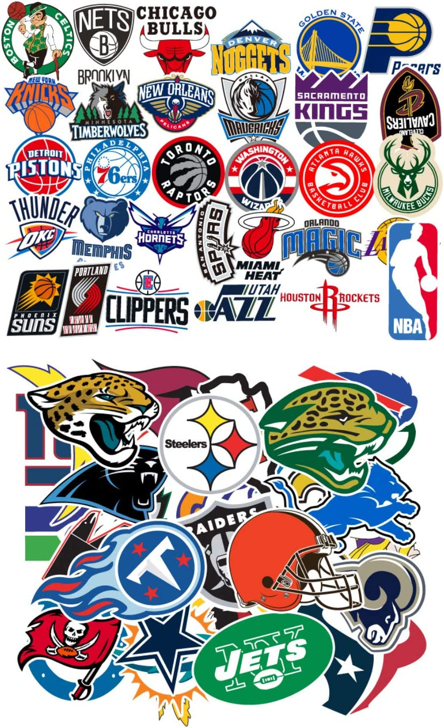 Ratgoo Waterproof Graffiti Stickers of 31 Pcs NBA Basketball Team Logo 32 Pcs NFL Football Teams Logo for Kids Children and Adult for Laptop Water Bottle Car Bumper Motorcycle Helmet Luggage Case Guit