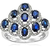 Sterling Silver Thai Blue Sapphire and White Topaz Ring, Size 7