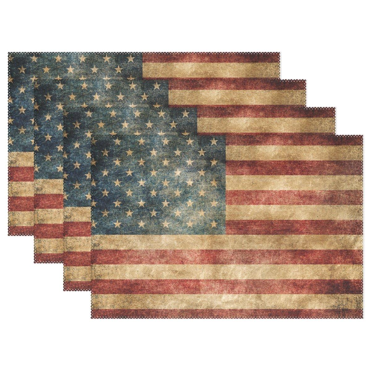 WozoヴィンテージAmerican USA Flagプレースマットテーブルマット、7月4日Independence Day国旗12