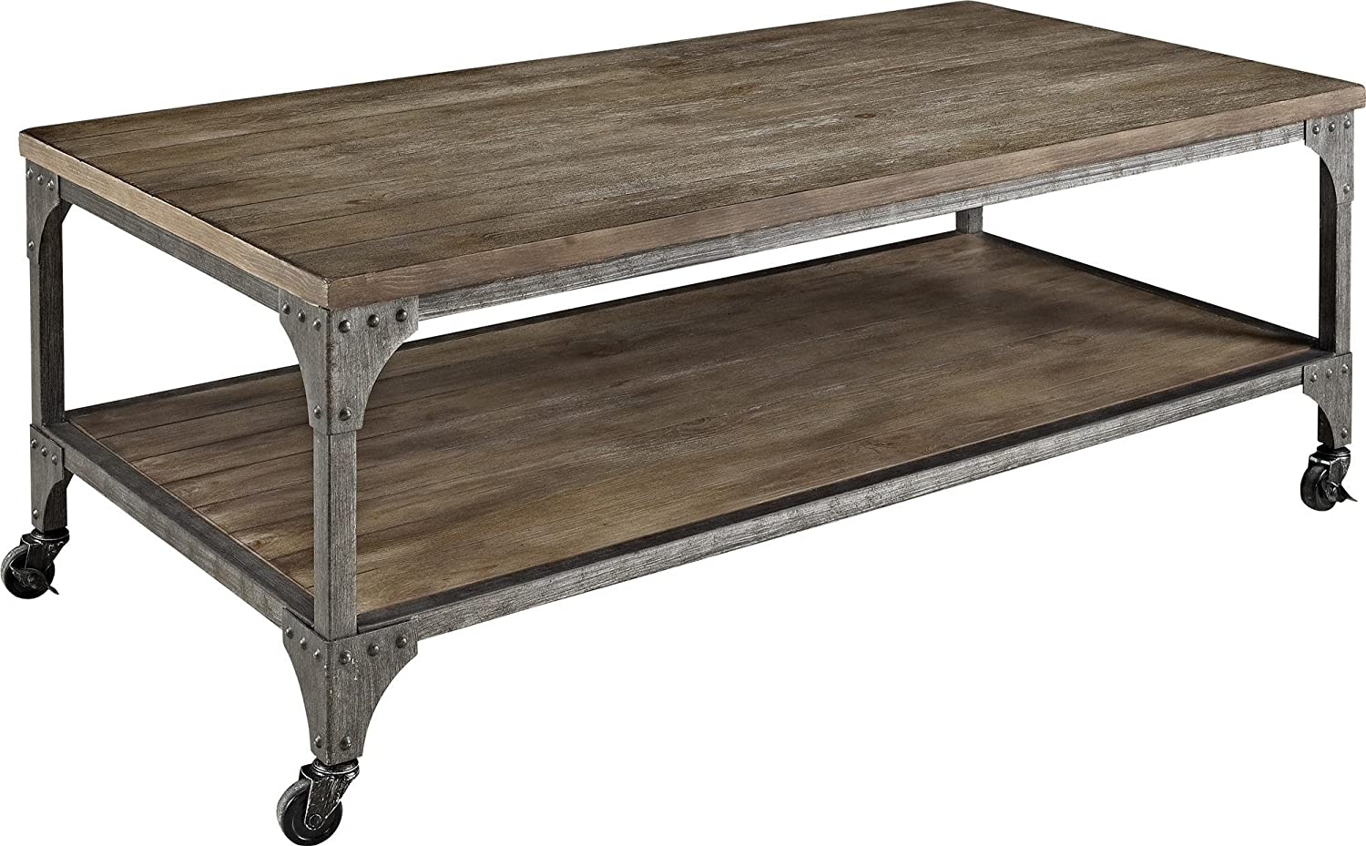 Amazon.com: Ameriwood Home Cecil Wood Veneer Coffee Table, Rustic: Kitchen  U0026 Dining