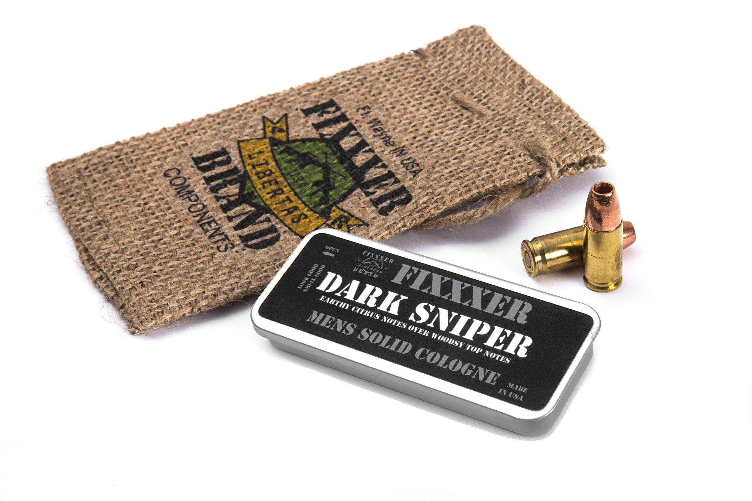 "Natural Men's Solid Cologne ""DARK SNIPER"" (18g) metal tin, Fixxxer Brand"