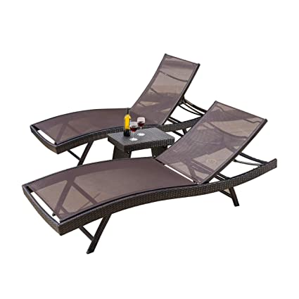 Christopher Knight Home 295703 Eliana Outdoor 3pc Brown Mesh Chaise Lounge Chairs Set