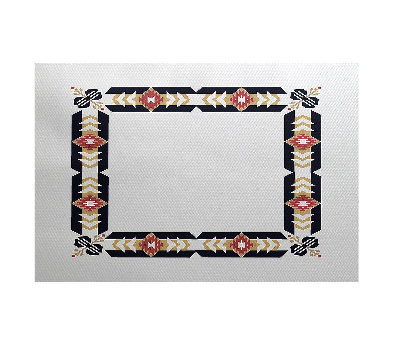 Geometric Print Indoor//Outdoor Rug Blue E by design RGN534BL14YE4-23 Jodhpur Border 2 x 3
