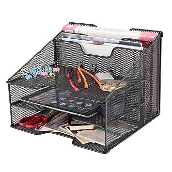 Samstar - Organizador de escritorio de rejillas, para archivos, con bandeja para cartas -