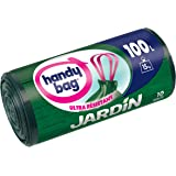 Handy Bag 1 Rouleau de 10 Sacs Poubelle 100 L, Pour le Jardin, Poignées Coulissantes, Ultra Résistant, Anti-Fuites, 82 x 95 cm, Vert Foncé, Opaque