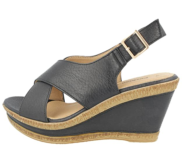 c6968a56251 Ladies Cushion Walk Wide E Fit Leather Lined Wedge Peep Toe Strappy Summer  Sandal Size 3-8  Amazon.co.uk  Shoes   Bags