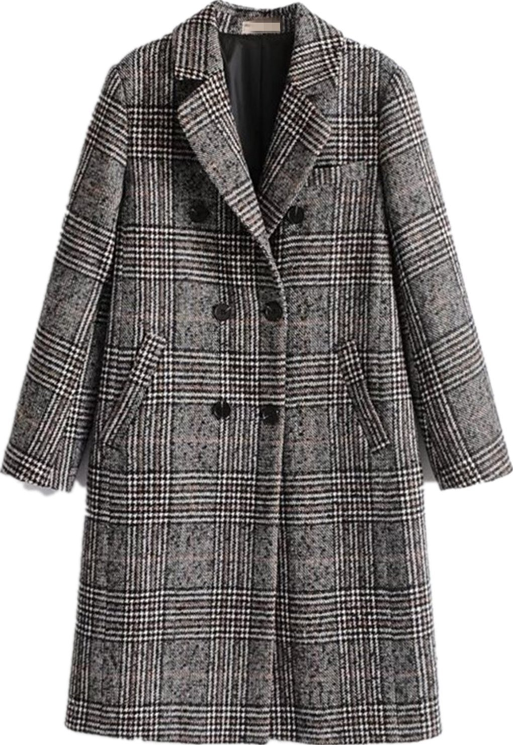 Face Dream Women Winter Plaid Overcoat Double Breasted Woolen Long Coat Grey by Face Dream