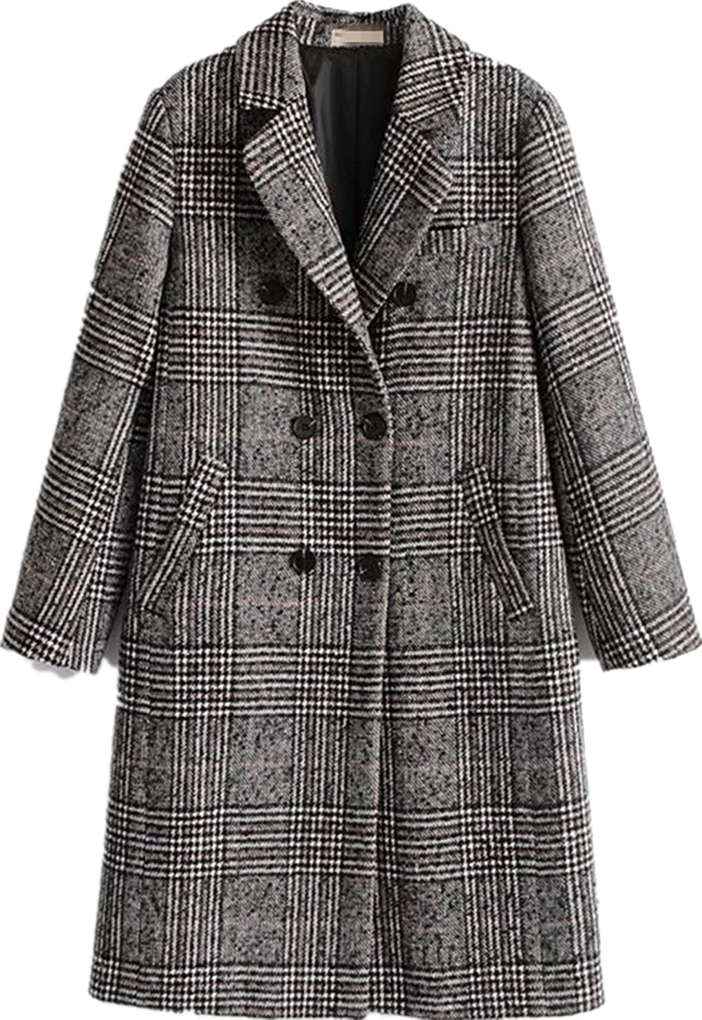 Face Dream Women Winter Plaid Overcoat Double Breasted Woolen Long Coat Grey
