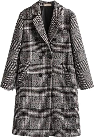 a2c2933b33 Face Dream Women Winter Plaid Overcoat Double Breasted Woolen Long Coat Grey