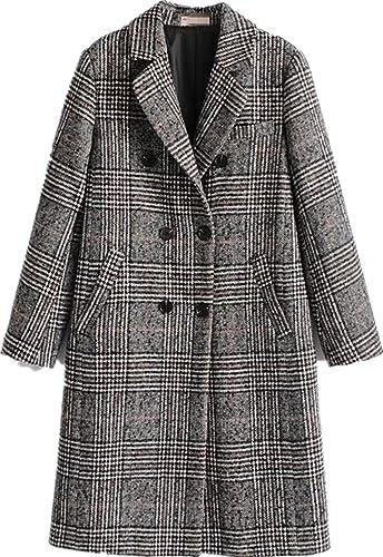 Amazon.com: Abrigo de invierno clásico para mujer con solapa ...
