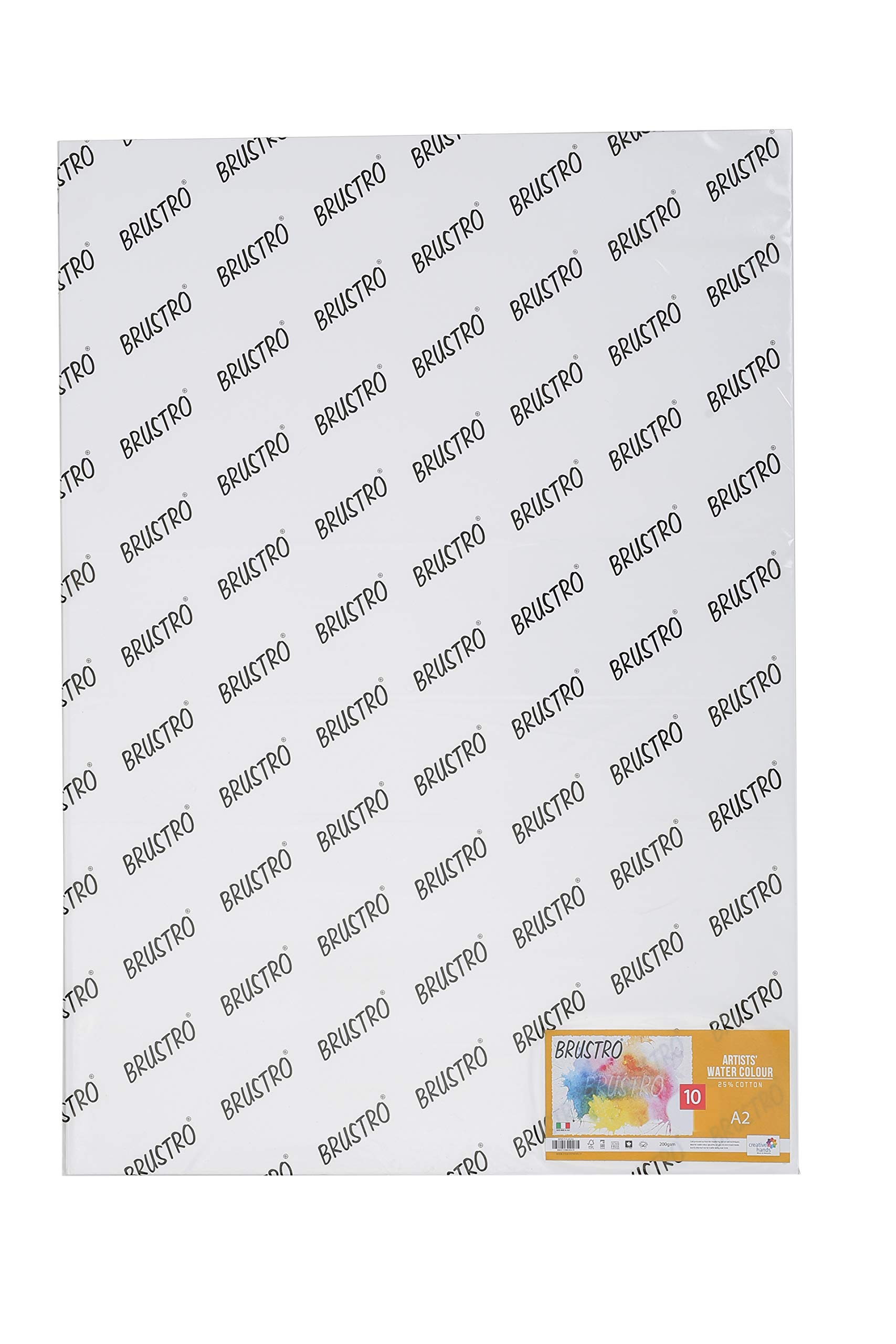 Brustro Artists' Watercolour Paper 25% Cotton Cold Pressed 200 GSM, Size - A2, 10 Sheets product image