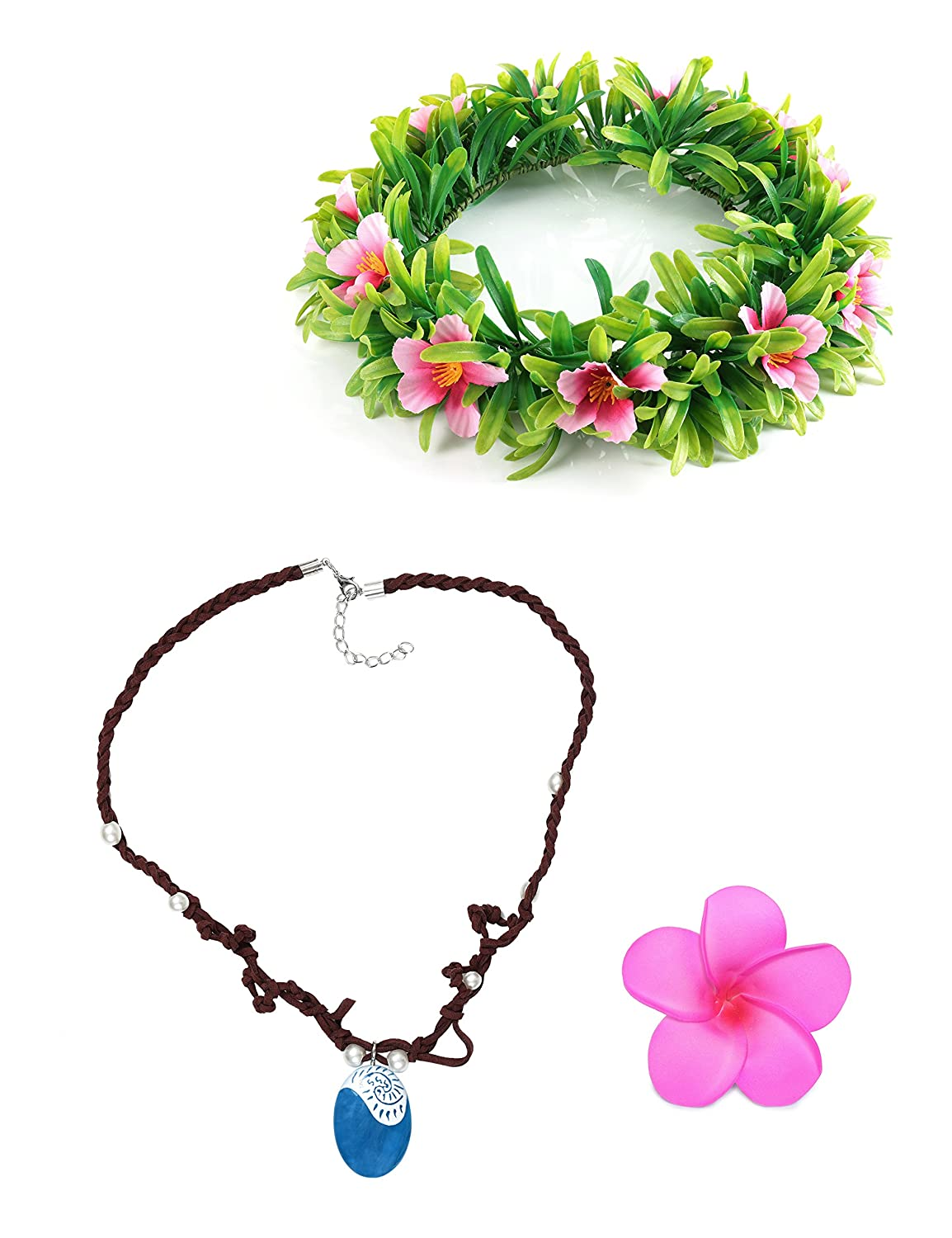 Muababy Girls Moana Necklace with Hawaii Flowers Garland (Necklace with Headband for Adult) necklace-M