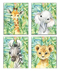 Little Baby Watercolor Animals Jungle Safari Prints Set of 4 (Unframed) Nursery Decor Art (8x10) (Option 3)