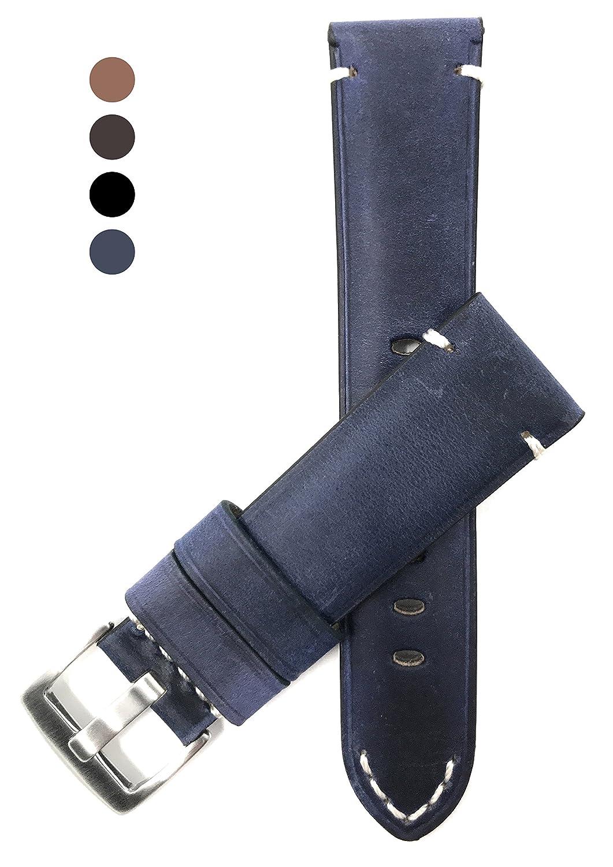20 mm 24 mmに、ヴィンテージ時計バンドストラップ、本革、ブラック、ブラウン、タン&ブルー、ホワイトステッチ、ステンレスバックル 22MM ブルー B0776NZYPZ 22MM|ブルー ブルー 22MM