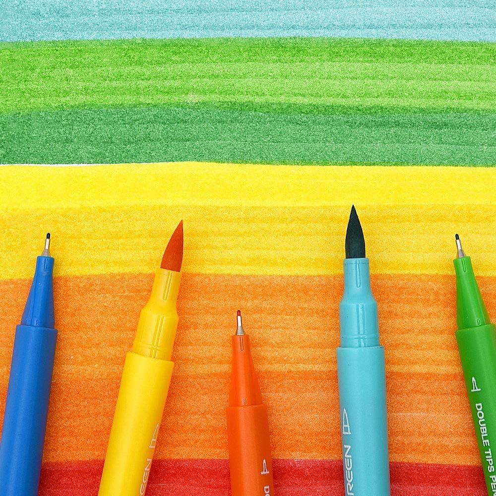 KACO ARTIST 12 Colors Double Tip Watercolor Pens Non-toxic Drawing Set