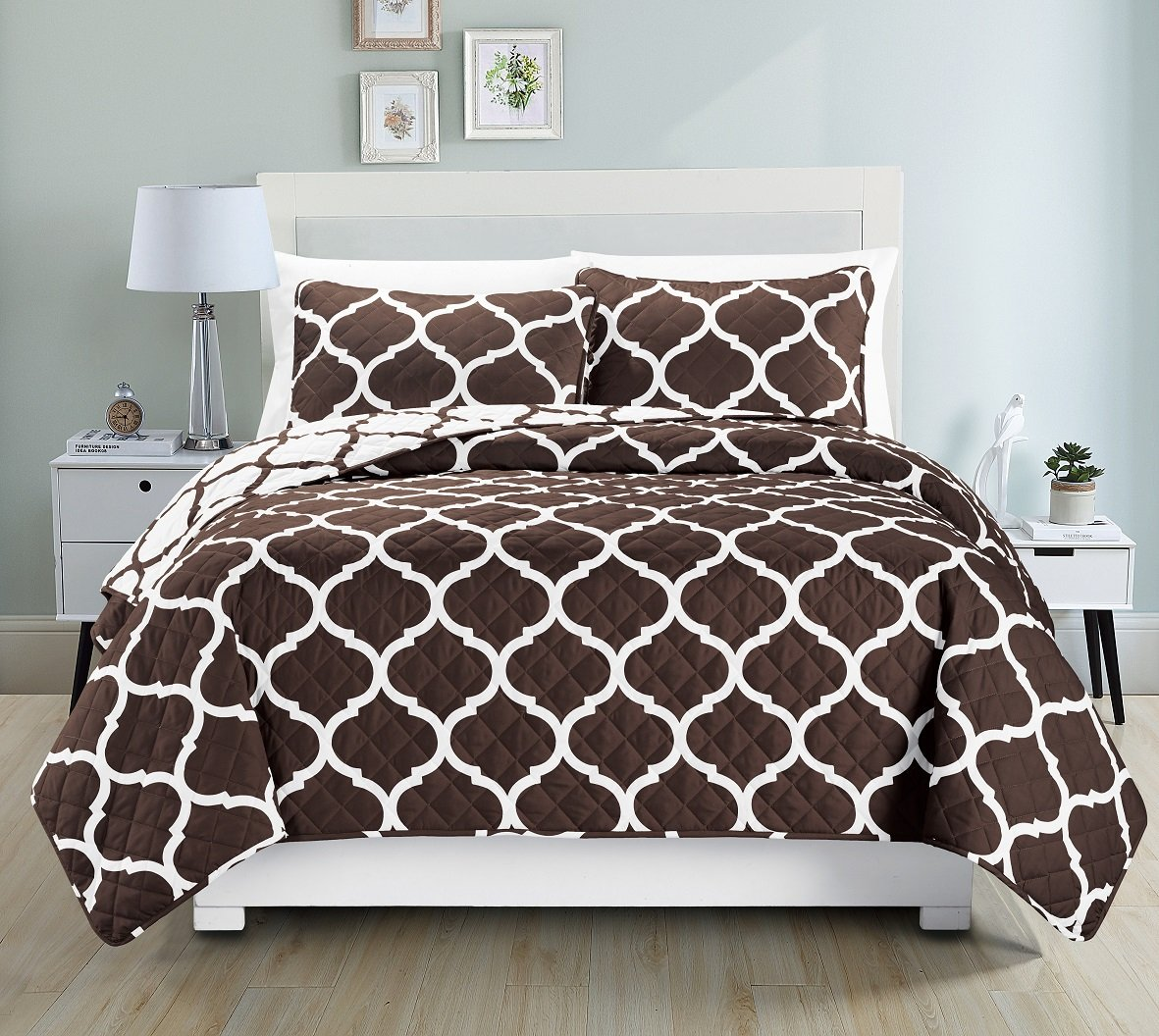 blue and brown bedding sets – ease bedding with style - luxurydiscounts  piece elegant reversible geometric print quilt bedspreadcoverlet bedding set