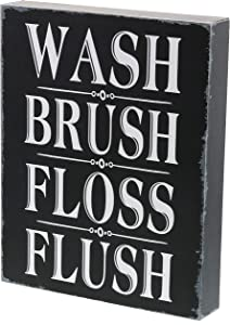 "Barnyard Designs Wash Brush Floss Flush Box Sign Rustic Primitive Farmhouse Country Bathroom Home Decor Sign 10"" x 8"""