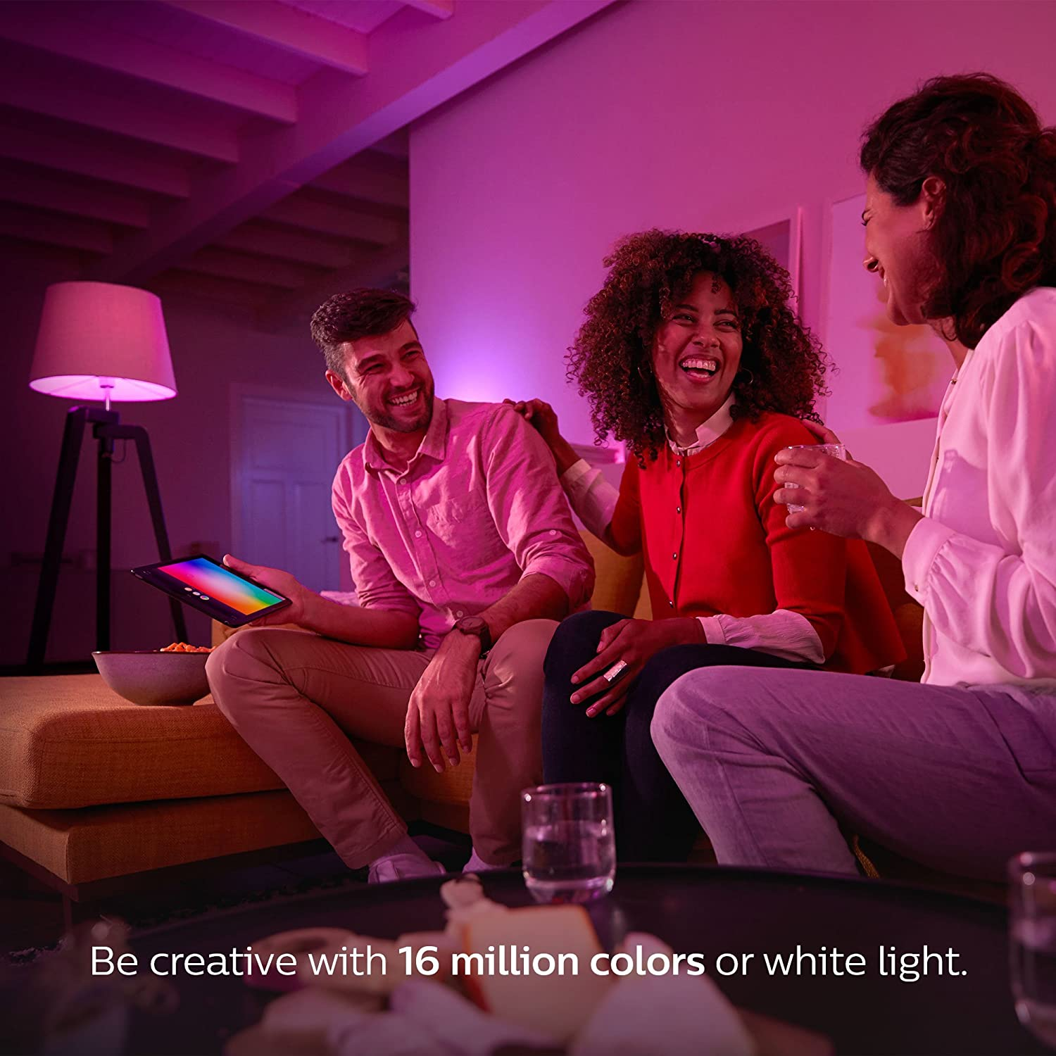 Philips Hue White and Color Ambiance A19 60W Equivalent Smart Bulb ...