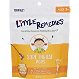 Little Remedies Sore Throat Pops | Made with Real Honey | Bag of 20 Pops | Ages 3+, 20 Count