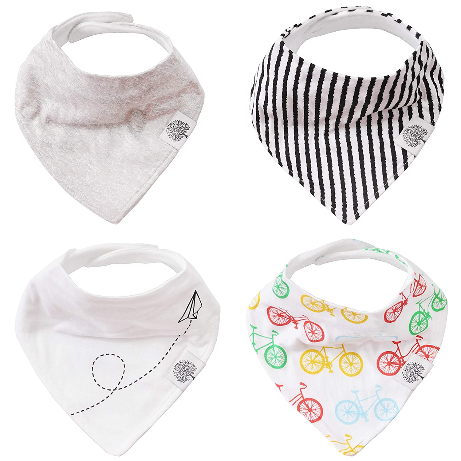 Parker Baby Bandana Drool Bibs - 4 Pack Gray Baby Bibs for Boys, Girls, Unisex -Shadow Set Parker Baby Co. TGB113