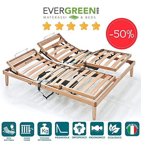 Orange Electric Slatted Wooden Bed Base 2 Lifters King Size 5ft X