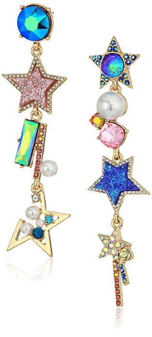 b31284b4b Betsey Johnson Mismatch Linear Star Cluster Drop Earrings: Amazon.ca:  Jewelry