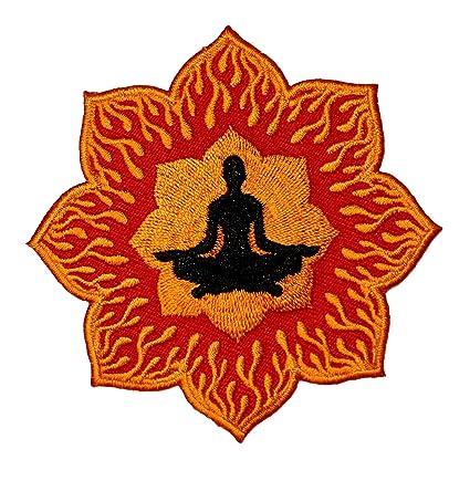 Amazon zen meditation lotus flower yoga inner peace embroidered zen meditation lotus flower yoga inner peace embroidered iron on applique patch mightylinksfo