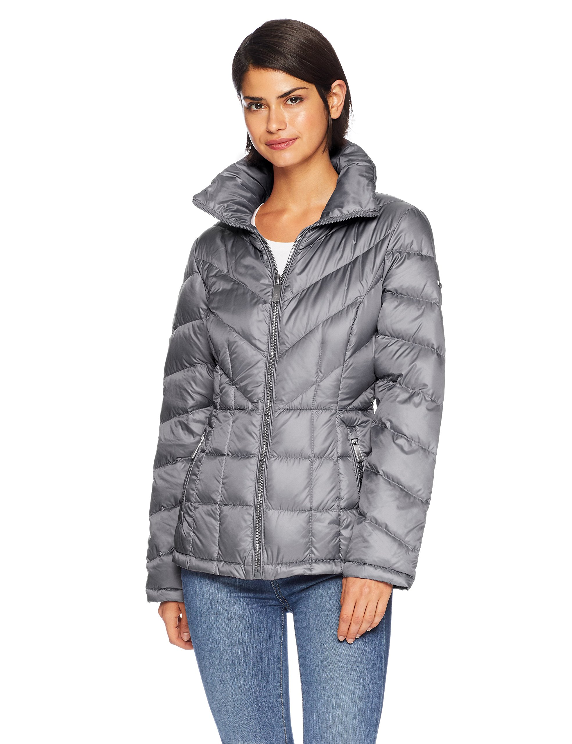 Kenneth Cole New York Women's mid Length Zip Puffer Jacket with Mixed Quilting, Nickel, XL