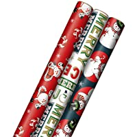 Hallmark Vintage Christmas Wrapping Paper Cut Lines on Reverse (3 Rolls: 120 sq. ft. ttl) Dancing Santas, Classic Snowman,