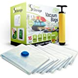 Vacuum Storage Bags, 16 Pack by Smart Storage | Space Saver Bags for Clothes, Pillows & Bedding, Travel Luggage | Vacuum Seal Storage Bags