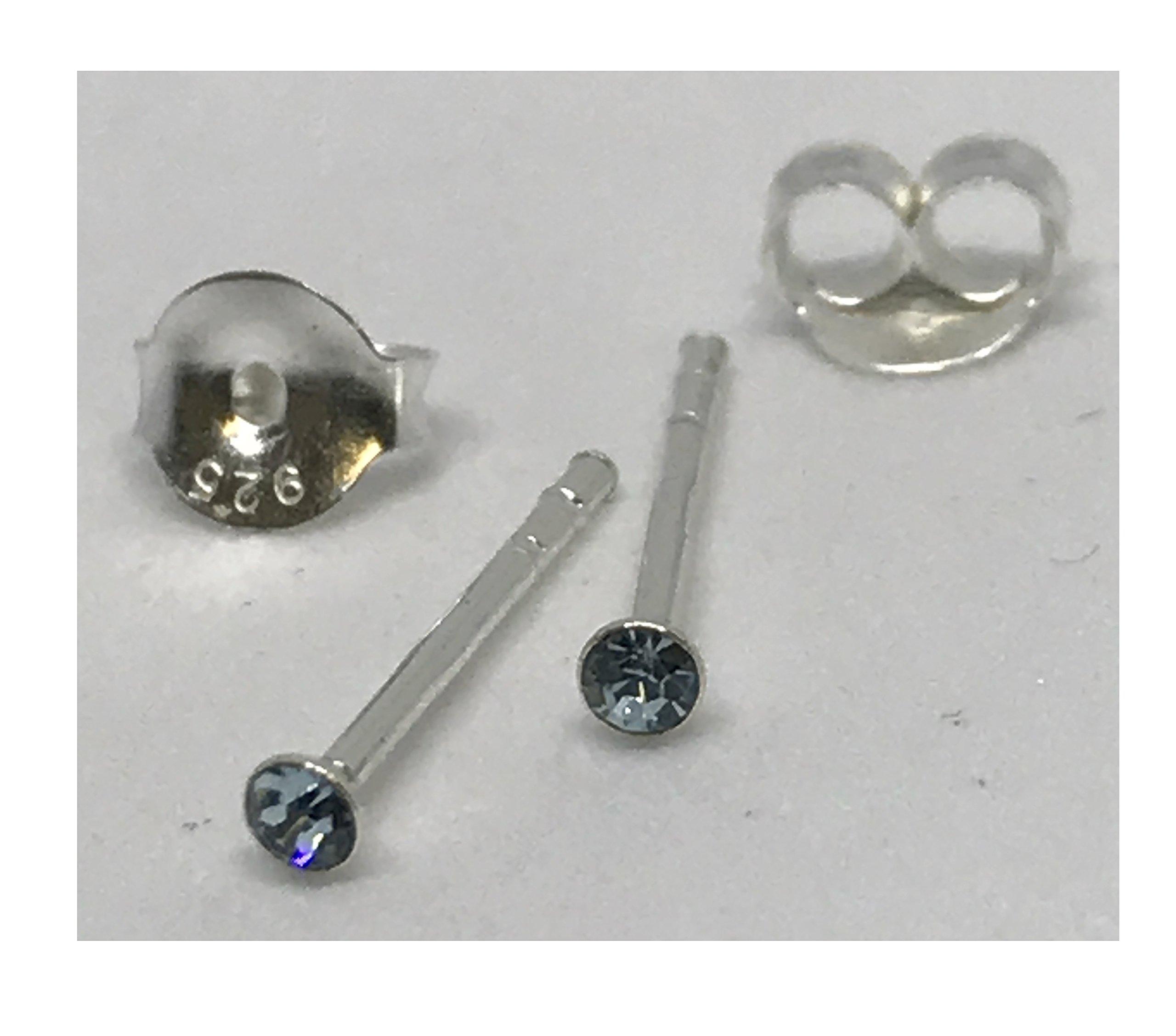 Silver Tulip Earrings - Sapphire Glass Crystal Ear Studs