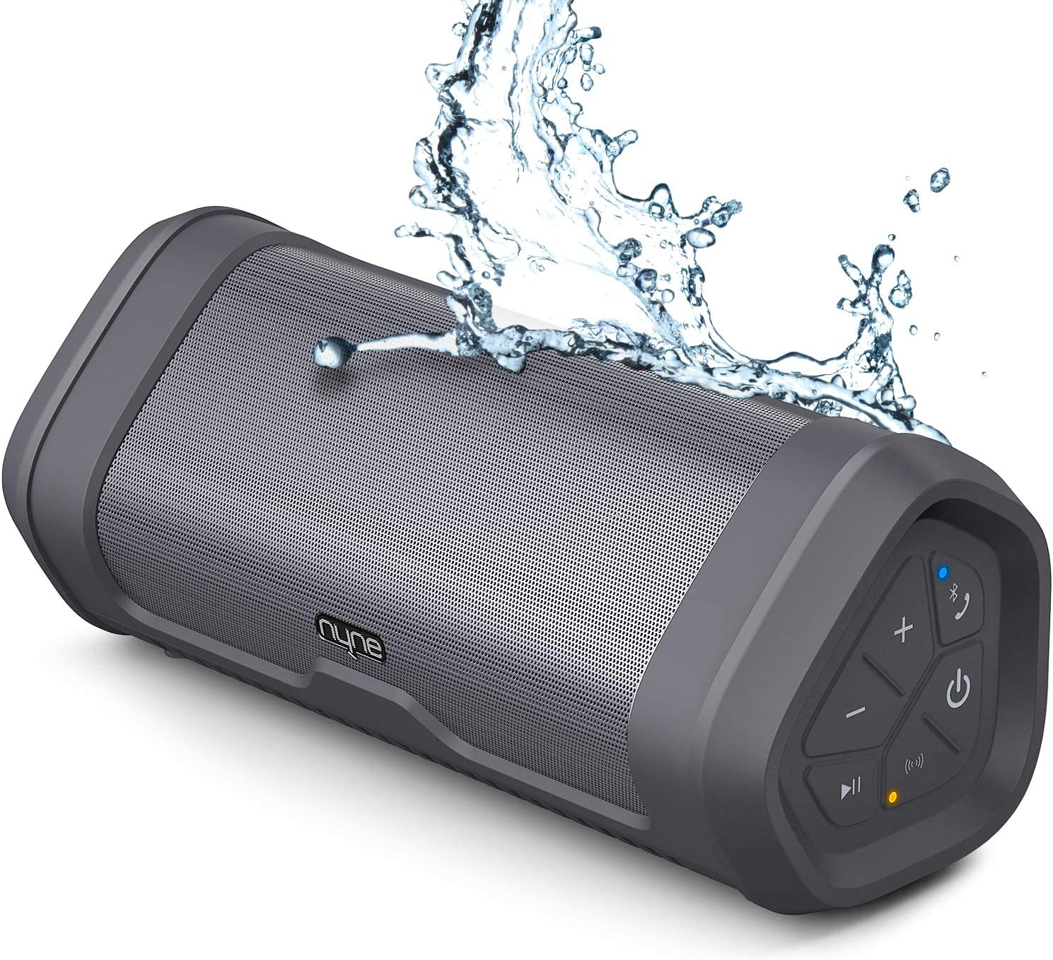 NYNE Boost Portable Bluetooth Speakers with Premium Stereo Sound - IP67 Water & Dust Proof, 20 Hours Play-time, 100 ft Range, Built-in Power Bank and Mic, Loud Wireless Speaker,Grey