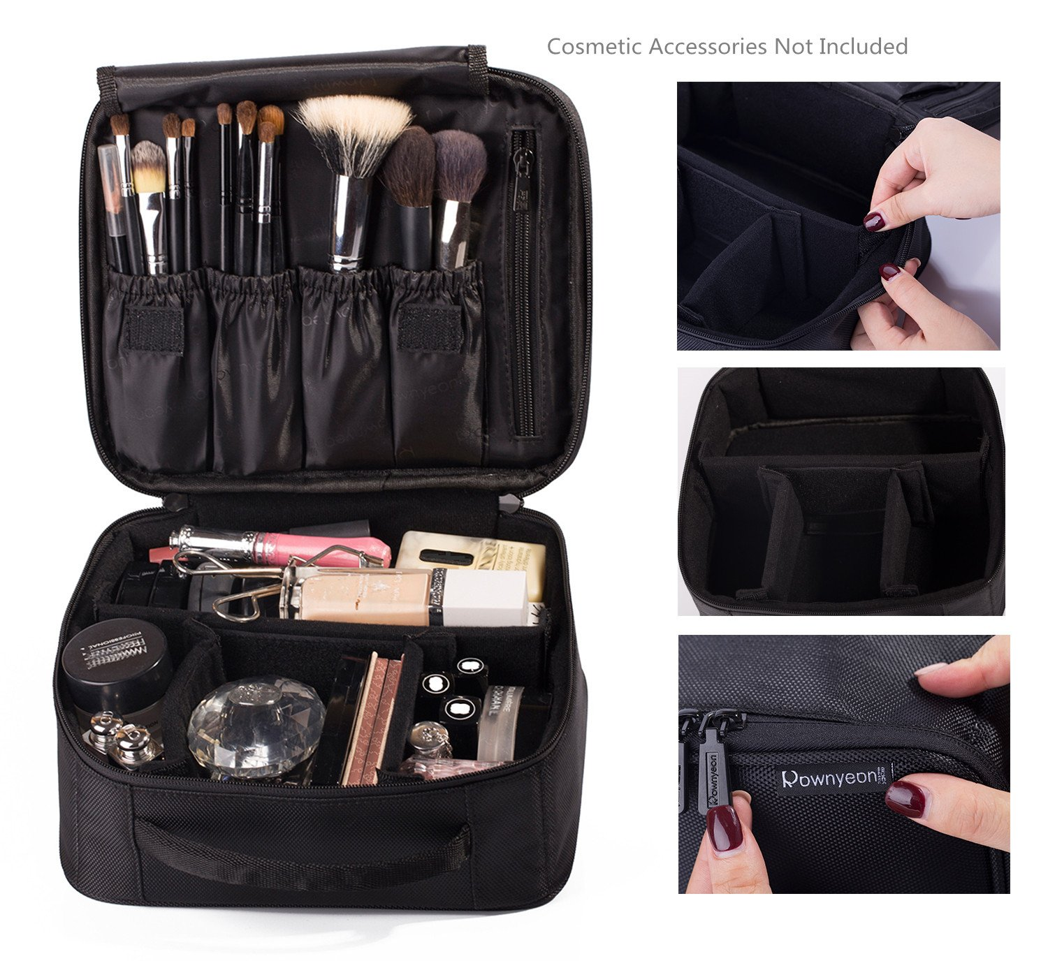 ROWNYEON Portable Professional Travel Make Up Bag Makeup Artist Case Train Case Cosmetic Make Up Artist Organizer 14.1'- 14.6'' Medium