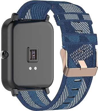 Tencloud Band Compatibel met Garmin Venu Sq/Venu Strap, Lichtgewicht Streep Nylon Stof Geweven Bands Vervanging Armband Polsband Band voor Venu/Venu Sq/Venu Sq Music GPS Smart Watch