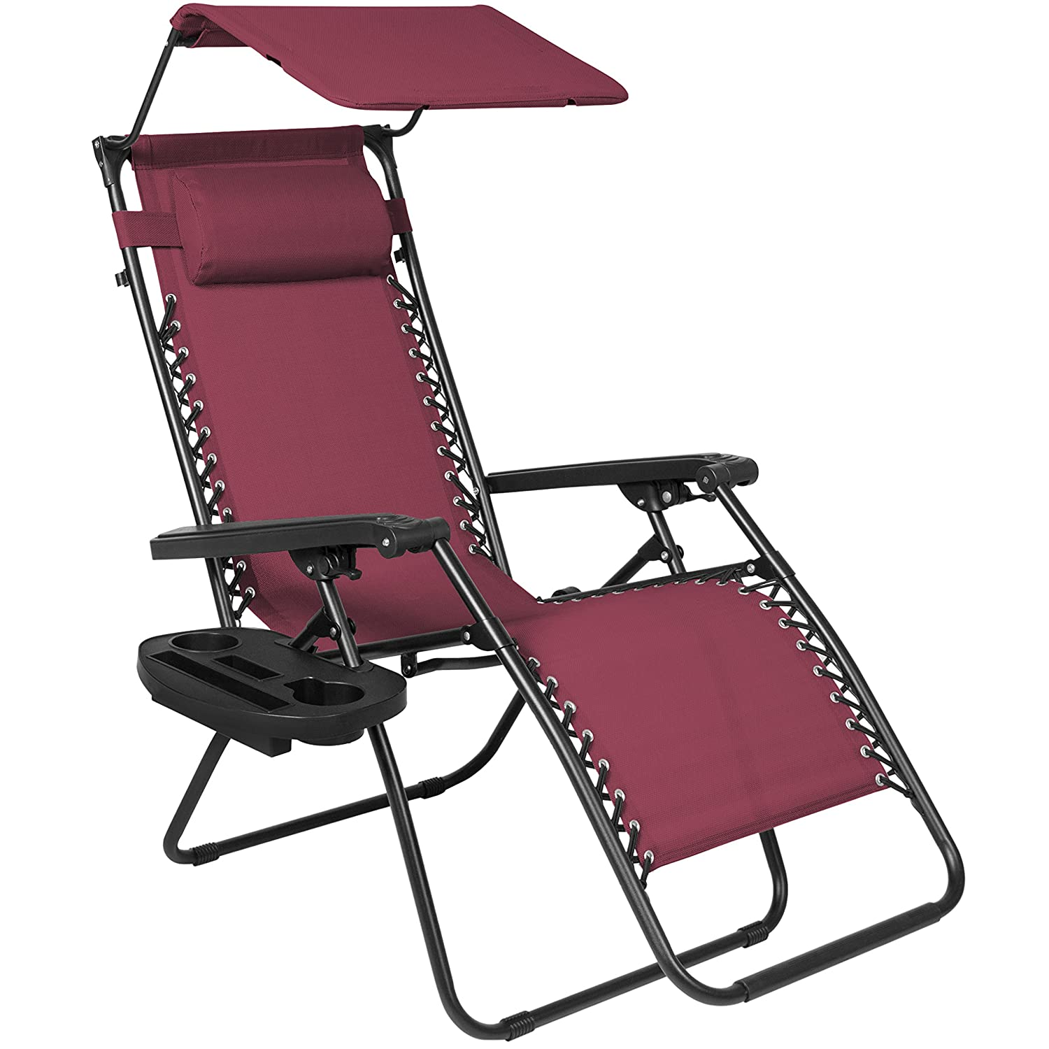 Best Choice Products Folding Zero Gravity Recliner Lounge Chair w/Canopy Shade and Cup Holder Tray - Burgundy