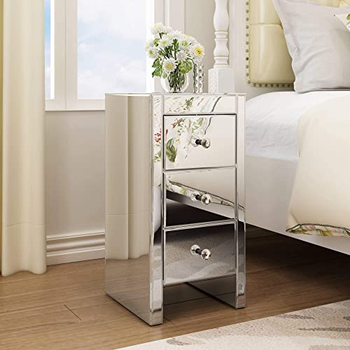 JAXPETY Set of 2 Mirrored Nightstand 3 Drawer Bedside End Table