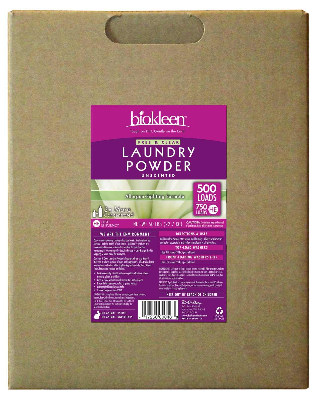 Biokleen 00048 Laundry Detergent Powder, Concentrated, Eco-Friendly, Non-Toxic, Plant-Based, No Artificial Fragrance, Colors or Preservatives, Free & Clear, Unscented, 50 Pounds- 750 HE Loads/500 Standard Loads by Biokleen