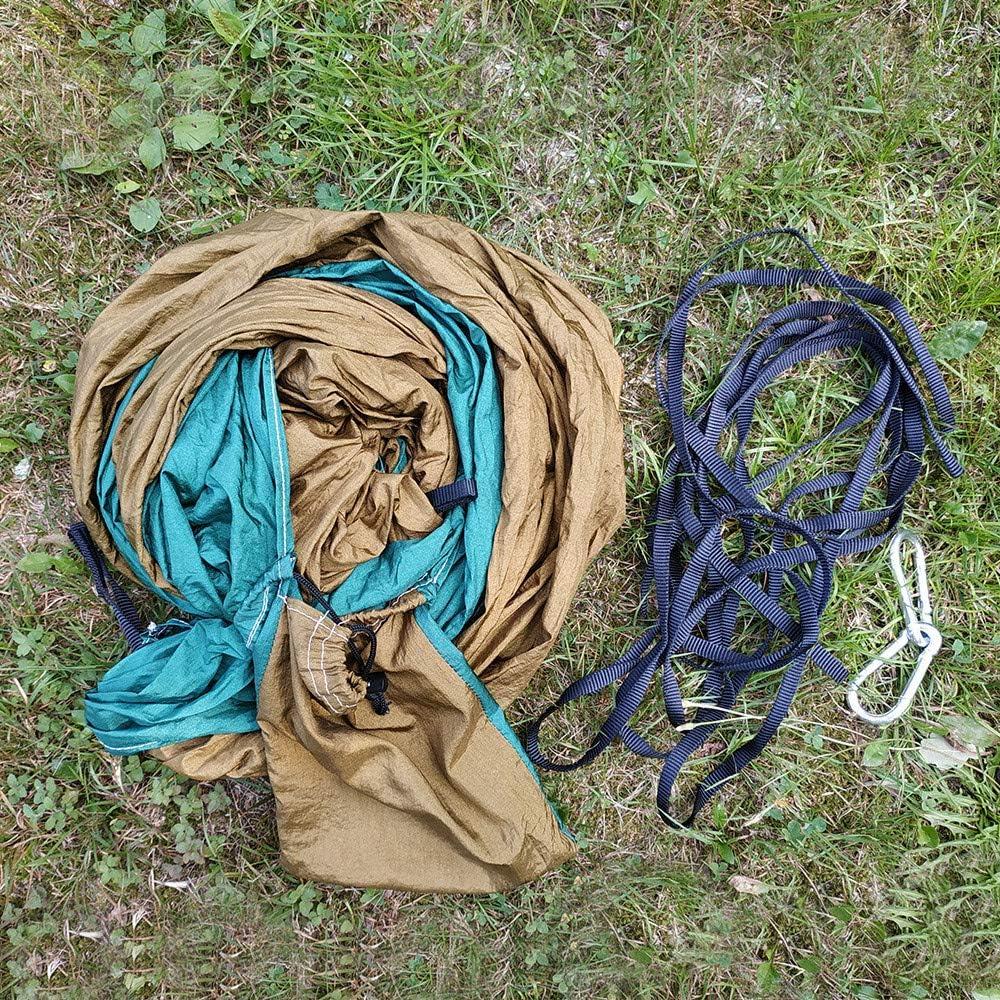 2 Persone Portatile Paracadute Amaca Campeggio Sopravvivenza Giardino Caccia Tempo Libero Viaggio Doppia Persona Blu grigio